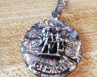 Vintage Danecraft Sterling Silver Gemini Double Sided Zodiac Pendant 925 the Twins
