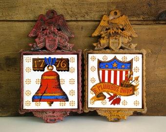 Vintage Cast Iron Trivets / Napcoware Americana theme hot platea / Wall decor