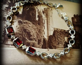 Garnet and Sterling Silver Linked Bracelet