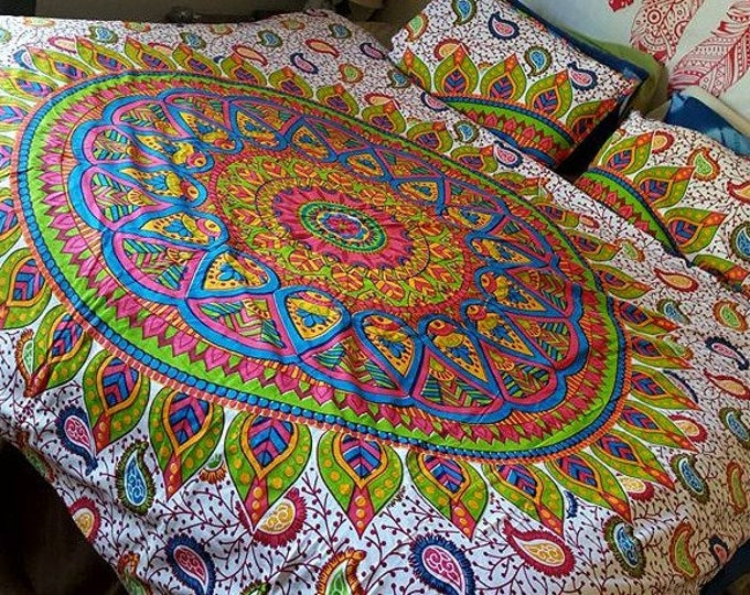 Colorful Funky Mod Duvet Cover Mandala Tapestry Boho Bedding with Matching Pillowcases Duvet Gypsy Bedding Dorm Room Beach Yoga