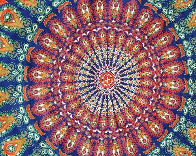 Traditional Peacock Mandala Roundie with Green Fringe Mandala Tapestry Beach Blanket Yoga Mat Meditation Mat Dorm Decor Hippie Tapestry