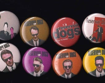 "Reservoir Dogs 1"" Pins Buttons Badges Set of 8 Quentin Tarantino 90s Cult Film"