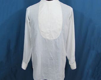 Mens Arrow Formal Shirt - collarless bib style - back open - ca 1930s - Medium