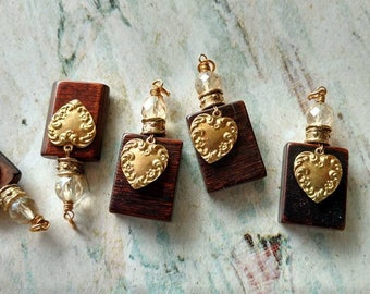 Wooden Pendant with Brass Heart