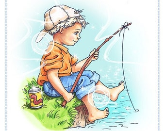 Whimsy Stamps -- Fishing Boy  -- NEW -- (#2293)