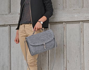 Grey felt bag, BigBlackDotsSatchel, grey felt, dots, clutch, crossbody bag, dotted, medium size, black