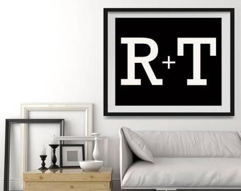 WEEKEND SALE Personalized Wall Art in 2 color choices, Monogramed Photo Print or Canvas Wall art wedding gift, Anniversary Gift ideas