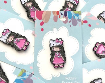 Chibi Hello Kitty Cosplay character soft enamel lapel pin, party supplies, party favors
