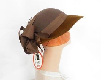 Woman's brown hat, vintage 1970s Adolfo, NOS