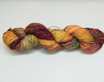 "Multicolour sock yarn, hand dyed - 4 ply fingering, 75/25 superwash merino and nylon, Sock&Roll base - Colourway ""Castañada"""