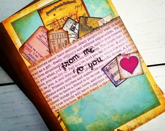 From Me To You Slim Journal Art Journal Keepsake with Unlined Pages