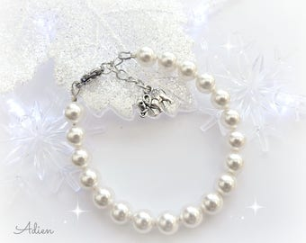 Pearl Bracelet, Classic Swarovski™ Crystal Ivory Pearls, Elephant Charm, Gift Idea, Christmas Gift