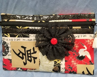 Zippered pouch Chinese fabric design cosmetic makeup purse bag black red