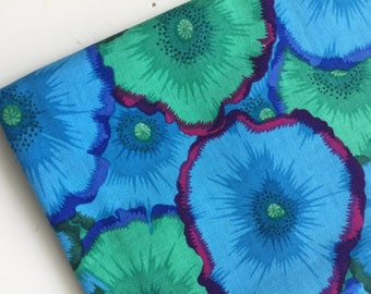 Kaffe Fassett Picotte Poppies Blue Fabric, PWPJ 052, OOP, HTF, Fat Quarter