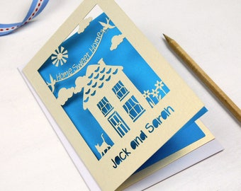 Personalised Papercut New Home Card, Laser Cut Home Sweet Home House Card, Personalised Paper Cut Moving Card, sku_new_home