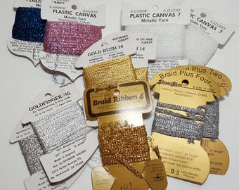 Metallic Yarn for Plastic canvas, needlepoint, crosstitch, crafts, Braid Ribbon, various colors lot, fly tying, estate sale find