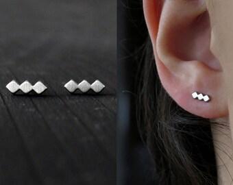 minimalist stud earrings /  beauty gift / triple rhombus earrings / clothing gift delicate earrings / dainty stud earrings / surgical steel