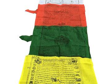 Tibetan Large Multi Color Vertical Tibetan Prayer Flags