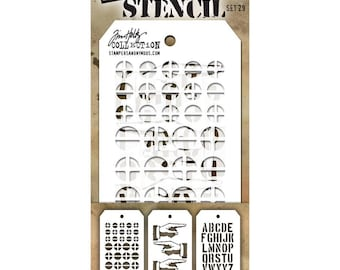 Tim Holtz Mini Stencil Set #29 - Stampers Anonymous Set of 3 mini stencils - Mixed Media Texture Stencils