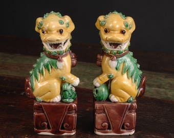 Pair of Small Foo Dogs, China