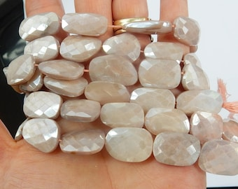 Mystic  peach  moonstone  faceted, flat  nugget beads (16-21x12-15mm),