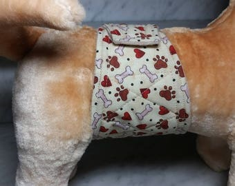 Belly Band Waist 18.25 x Width 4.00 inches Male Dog Wrap Diaper Belt by SewDog 3 Layers Quilted Padded #023 PAWS