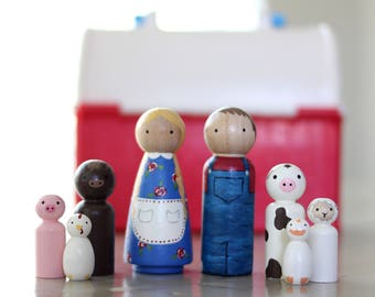 Whittle Friends - Mr and Mrs Farmer and Friends - Hand Painted Peg Doll Set