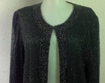Vintage 80s Trophy Jacket  Black Beaded Cardigan Silk  Womens Black  Evening Jacket M medium
