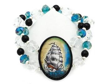 European Sailing Ship Crystal Beaded Cameo Bracelet