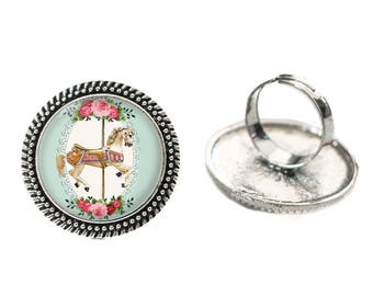 Vintage Carousel Horse Glass 25mm Cabochon Silver Double Rope Adjustable Ring