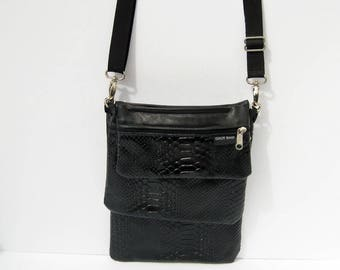 Black Snake Embossed, Cowhide Leather Convert-A-Bag, Sectional Bag, Organizer Purse, 3 Piece Bag