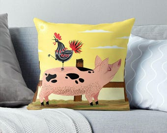 "The Pig and The Rooster - Children's Cushion Cover / Throw Pillow Cover - Animal art - (16"" x 16"") by Oliver Lake - iOTA iLLUSTRATiON"