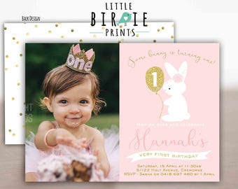 BUNNY BIRTHDAY INVITATION Gold Bunny First Birthday Party Invitation Gold and Pink Glitter Bunny Invitation Some Bunny Is turning one