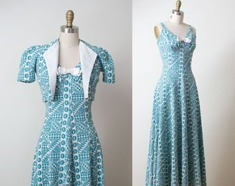 1930s Dress / 30s Printed Cotton Pique Gown & Bolero