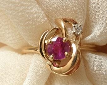 14k Gold Ring Natural Pink Sapphire Diamond Size 6 Hand Made Artisan Made