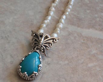 Turquoise Sterling Necklace Pearl Chain Pear Shape Butterfly Motif Vintage V0544