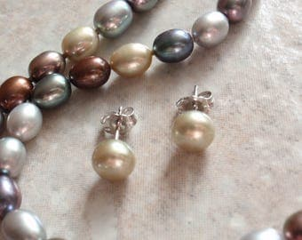 Freshwater Pearl Necklace Earrings Set Neutrals Grey Rust Green Vintage V0333