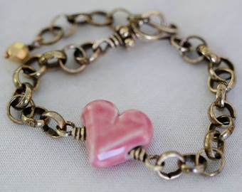 Sweet Pink Heart. Boho, hippie, layering, stacking bracelet, antique brass bracelet
