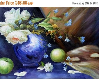 70% off ORIGINAL Oil Painting When The Night Comes 23 x 36 Flowers Realism Blue Vase Apples Peonies White  Brown   ART By MARCHELLA