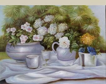 70% off ORIGINAL Oil Painting Soft colors Tea Time  paintbrush painting Flowers Vase Tea Roses Pale English  ART by Marchella