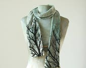 skinny silver velvet tree scarf hand dyed and printed