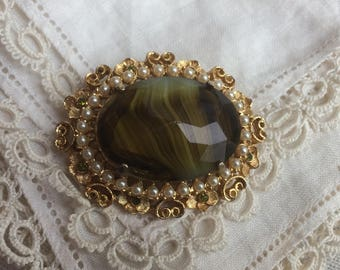 Vintage Faux Agate Paste + Faux Seed Pearl Statement Brooch