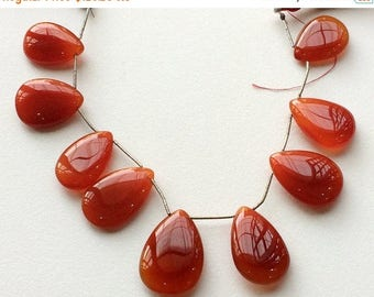 ON SALE 55% Burnt Orange Chalcedony, Orange Chalcedony, Briolette Beads, Orange Pear Beads, Faceted Gemstones, 22x16mm To 29x20mm, 9 Pieces,
