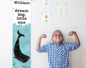 Custom/ Personalized Dream Big Little One nautical whale canvas growth chart- gender neutral or boy nursery decor or baby shower gift