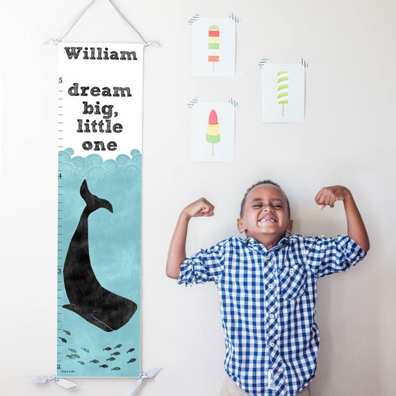 Personalized Dream Big Little One nautical whale canvas growth chart