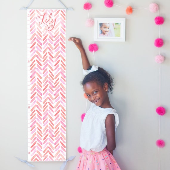 Personalized Coral and Pink Watercolor Chevron Growth Chart