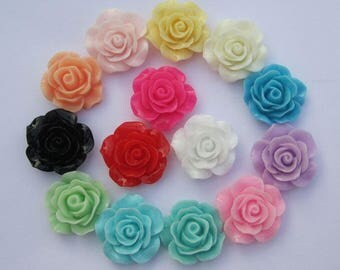 Flower Cabochons, Resin Rose Flowers, 50 assorted color roses, resin Roses, plastic flower charms, wholesale flowers, flat back flowers 18mm