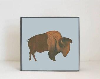 southwestern nursery art -buffalo wall art- animal prints- gender neutral baby- southwest children wall decor- nursery- bison, redtilestudio