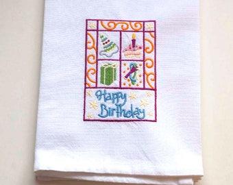 Birthday Square Tea Towel | Embroidered Kitchen Towel | Personalized Kitchen Towel | Embroidered Towel | Birthday Towel | Happy Birthdy