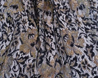 ON SALE Black with Metallic Gold French Chantilly Lace Fabric--One Yard